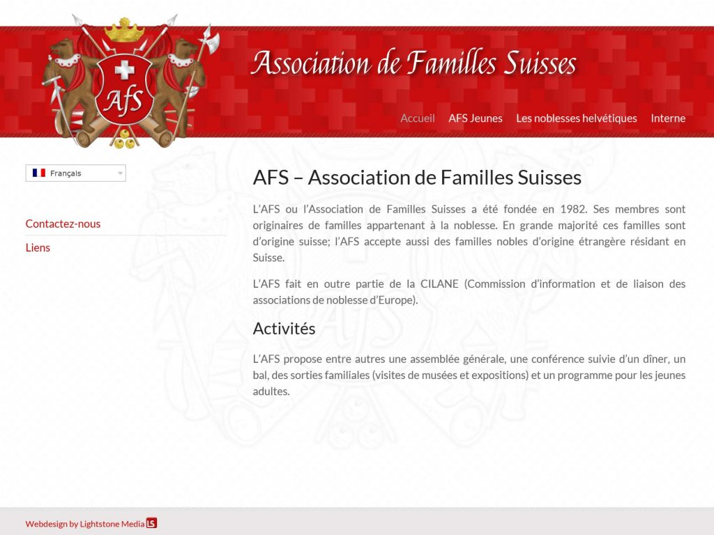 Homepage der Association de Familles Suisses (AFS)