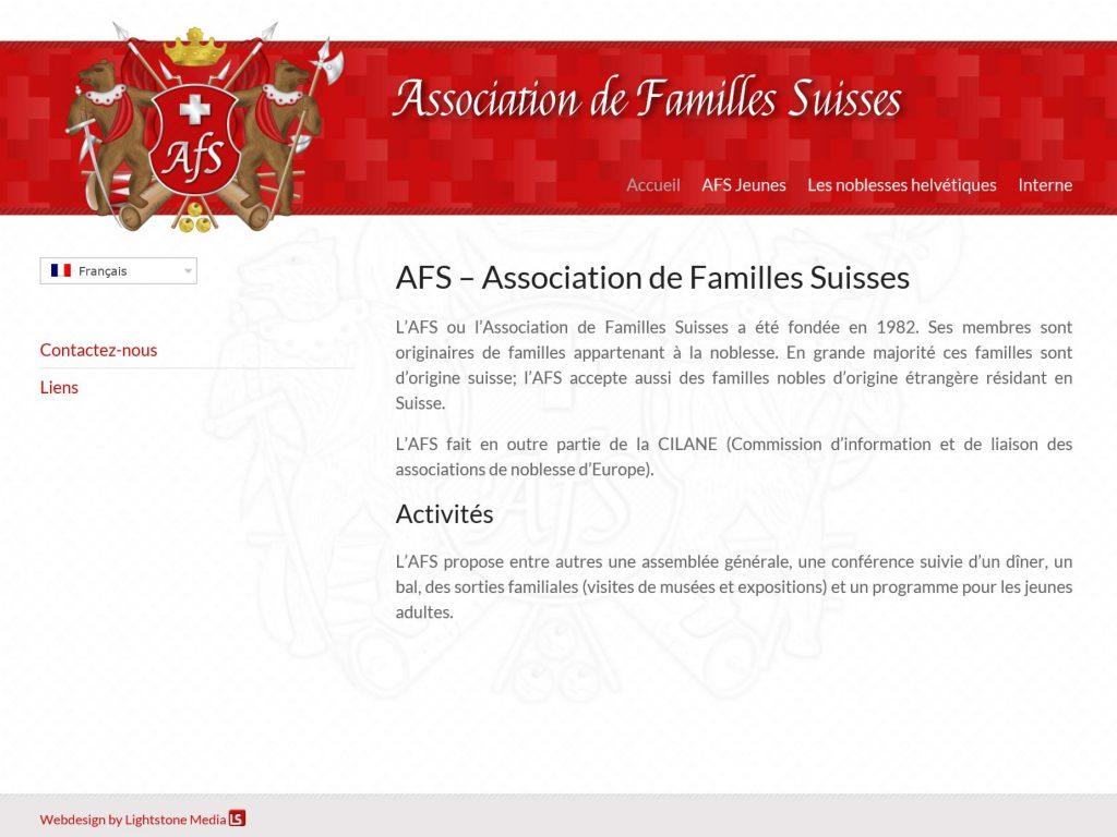Homepage der Association de Familles Suisses (AFS)