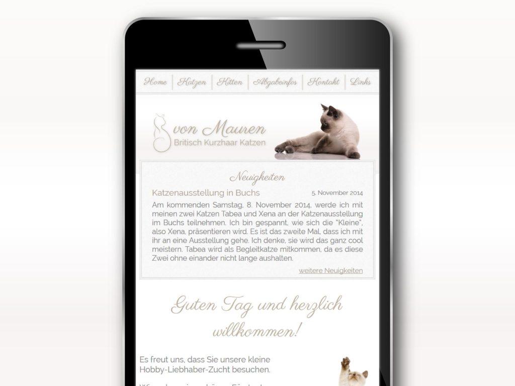 Mobiles Layout, Responsive Design der Webseite für Britisch Kurzhaar von Mauren