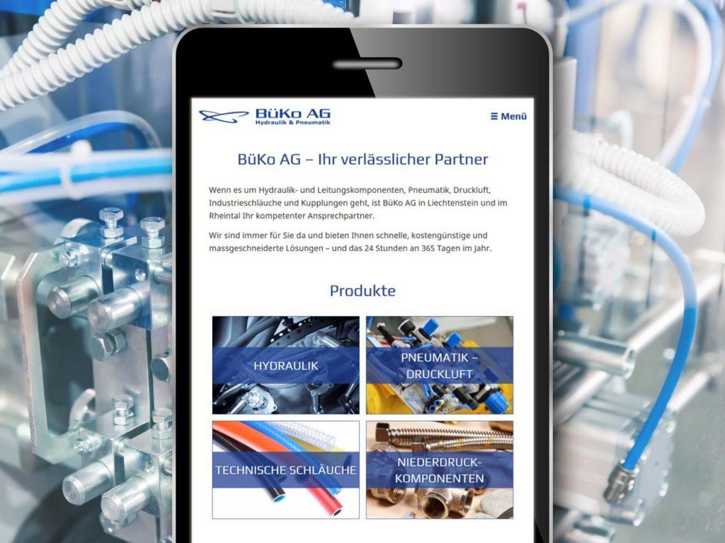 Mobilansicht der Webseite in responsive Design - BüKo AG Hydraulik & Pneumatik