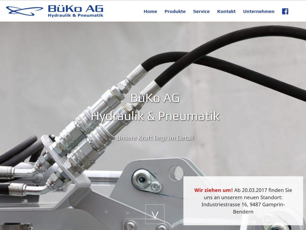 Screenshot der Startseite auf der Homepage der BüKo AG Hydraulik & Pneumatik