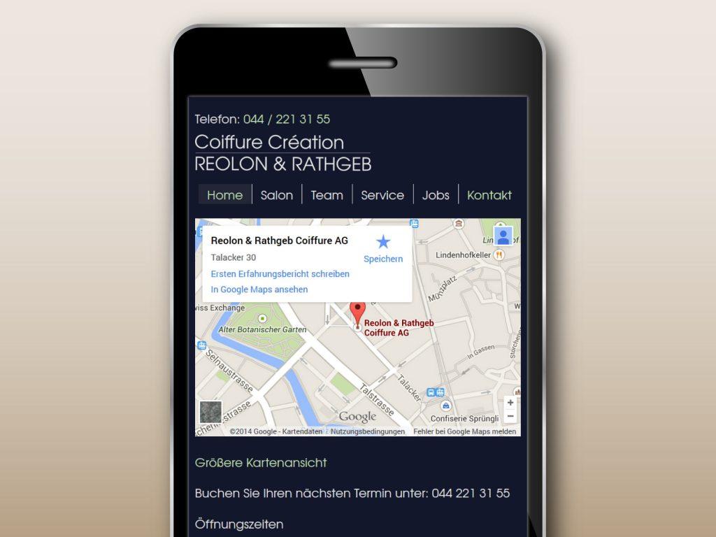Mobile Ansicht der responsive Webseite für den Friseursalon Reolon Rathgeb