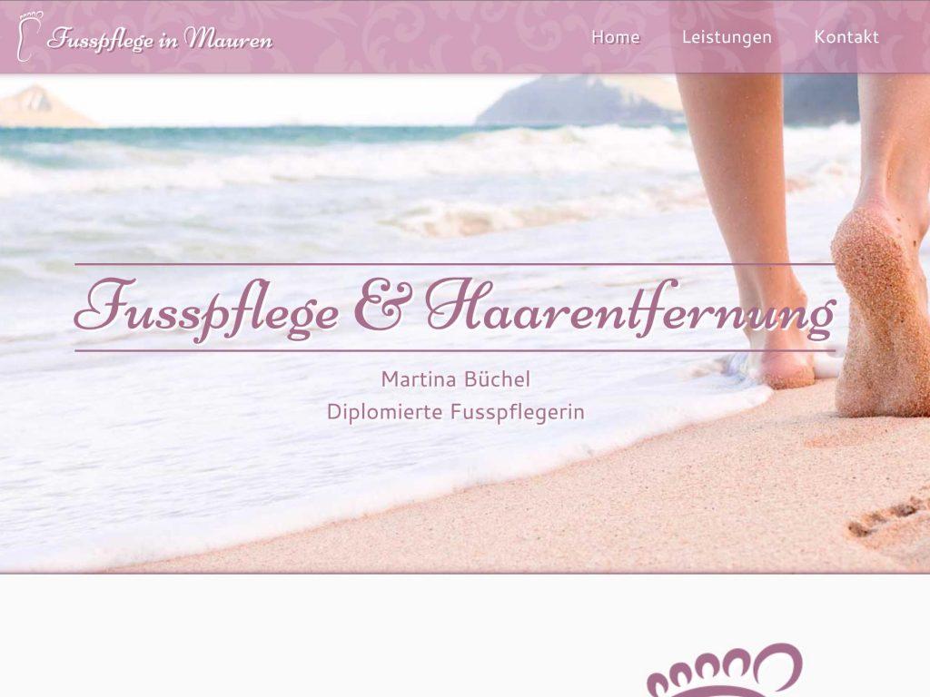 Ansicht der Webseite Fusspflege in Mauren, individuelles responsive Design.