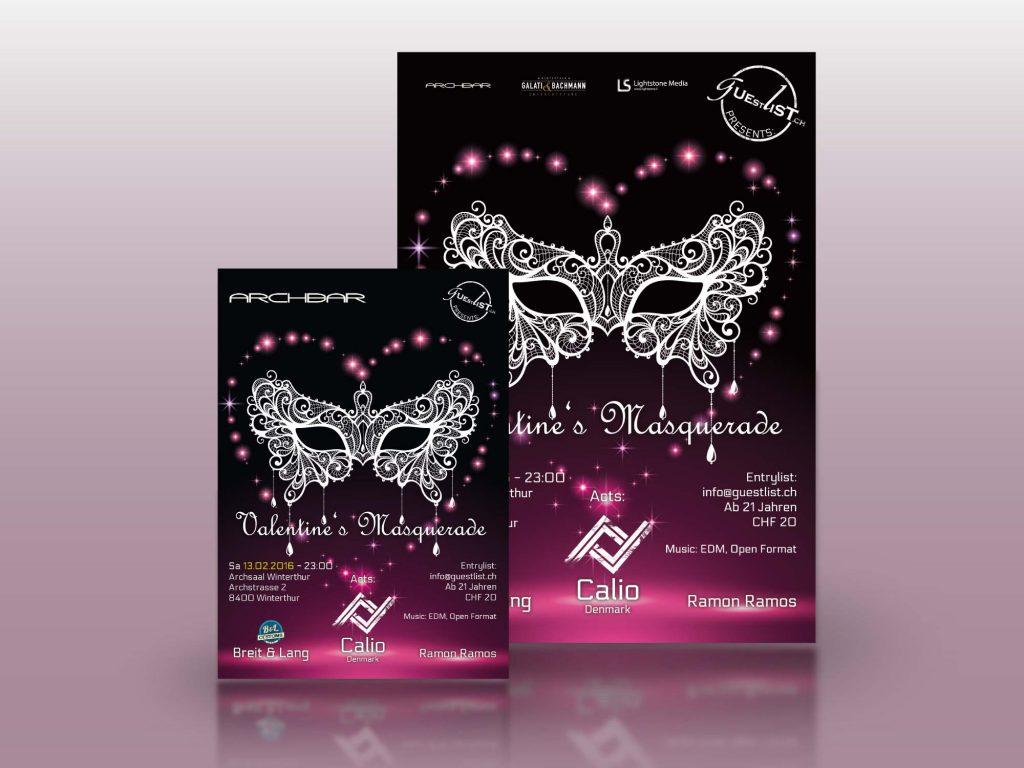 Werbeplakate und Flyer für Veranstaltungen von guestlist.ch