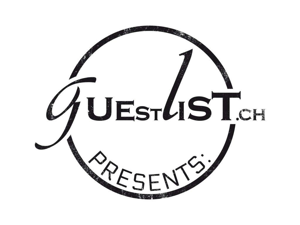 Grafik eines Stempels mit Logo als Signatur auf Werbematerialien von Guestlist