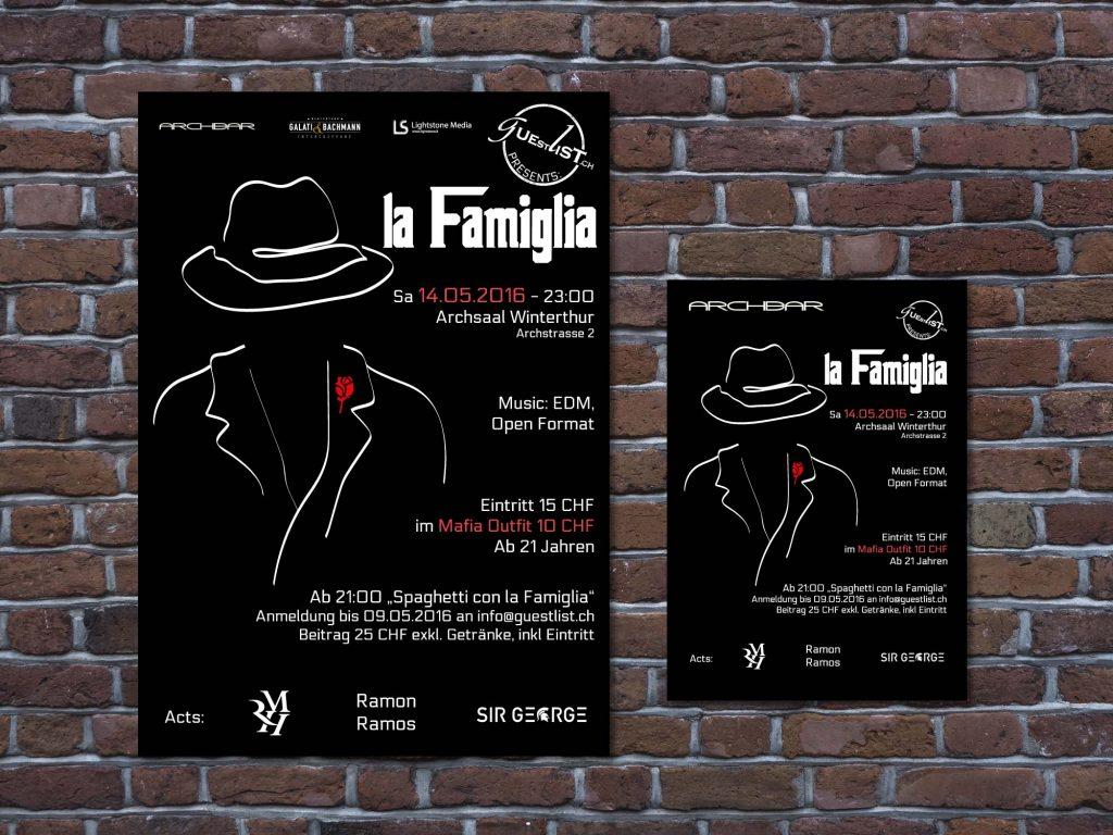 Werbeplakat und Flyer für eine Veranstaltung der Guestlist AG