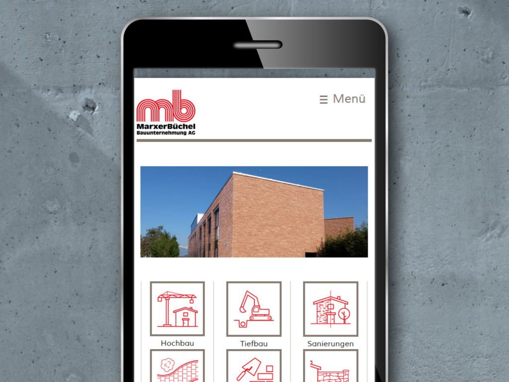 Mobile Webseite in responsive Design für die MarxerBüchel Bauunternehmung AG