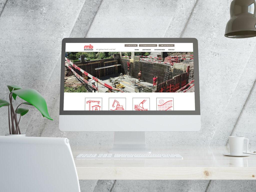 Individuelles Design der Webseite MarxerBüchel Bauunternehmung AG