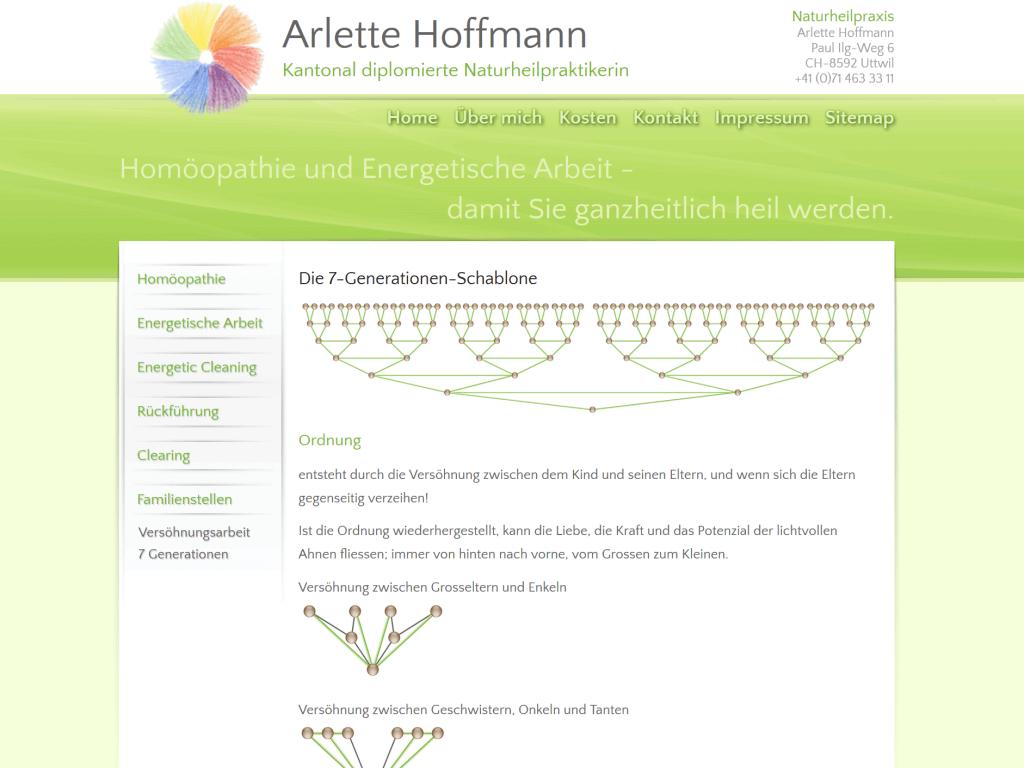Erstellte Grafiken für die Webseite der Naturheilpraxis Arlette Hoffmann, Uttwil