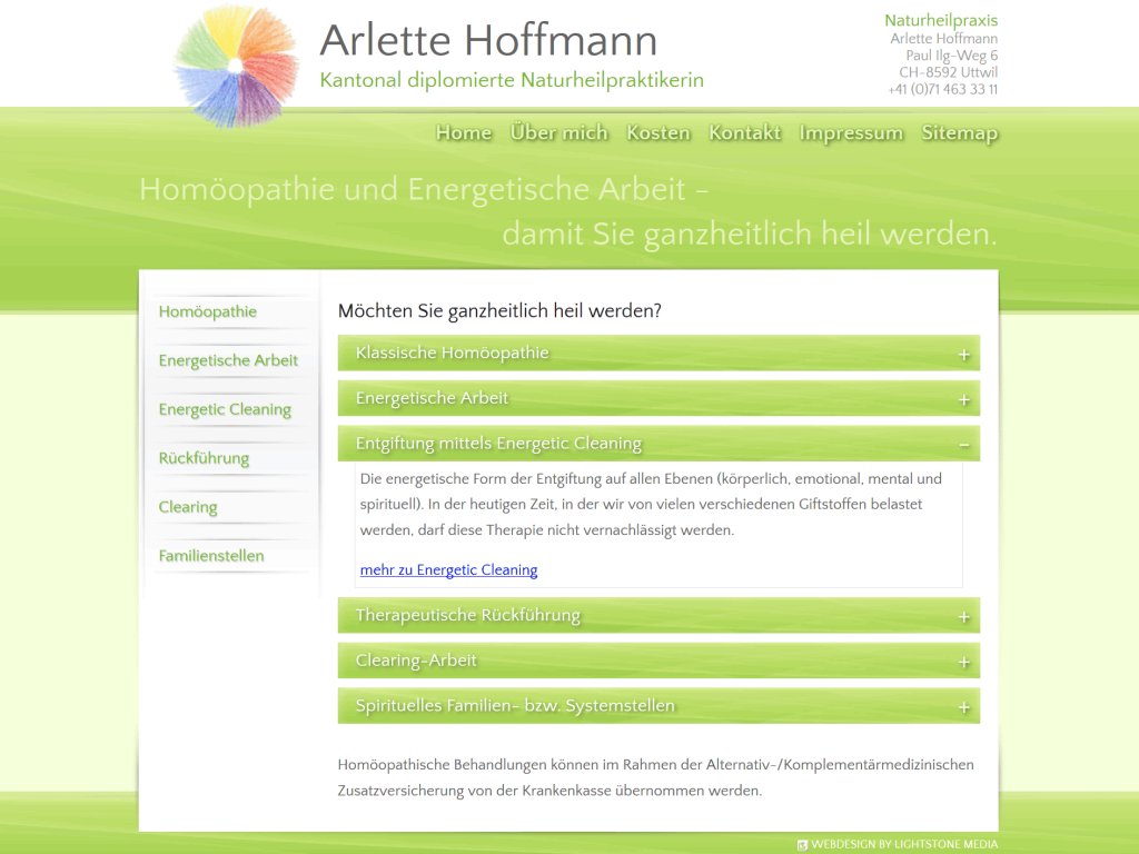Individuelles Webdesign der Homepage für die Naturheilpraxis Arlette Hoffmann