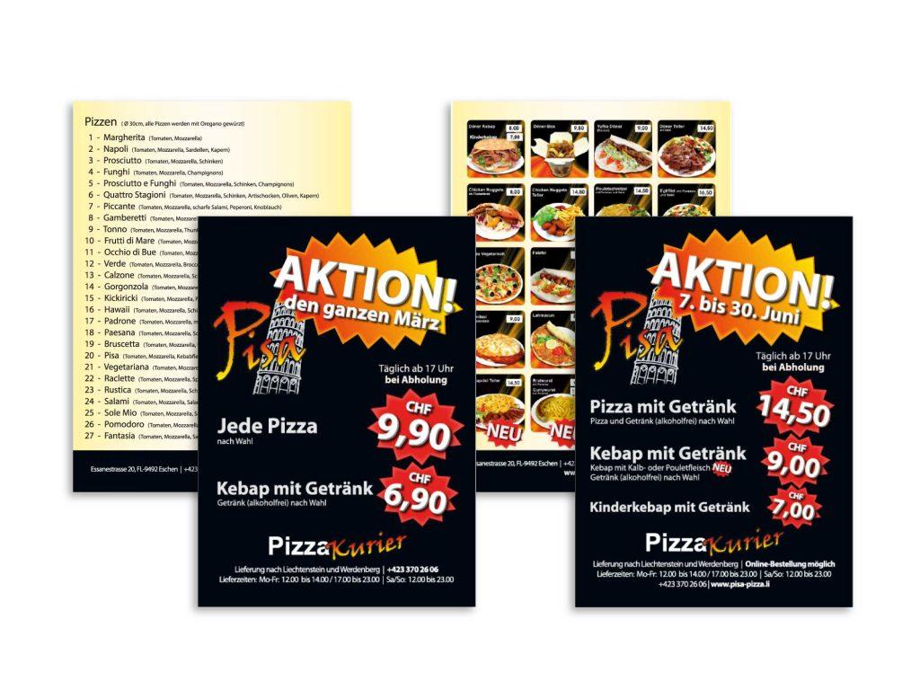 Flyer zu Aktionen beim Pisa Imbiss, Pizza & Kebap in Eschen, Liechtenstein.