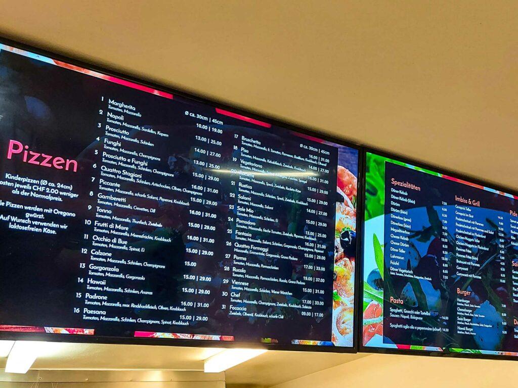 Screens im Pisa Pizza Ladenlokal