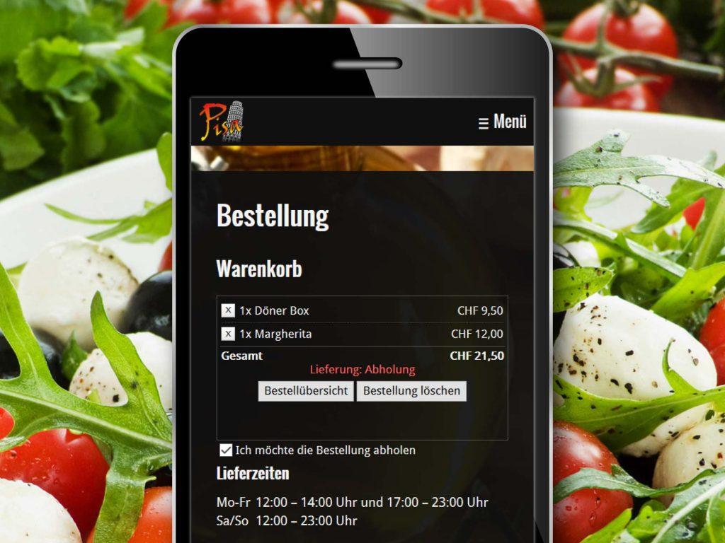 Mobile Ansicht der Webseite des Pisa Imbiss Eschen