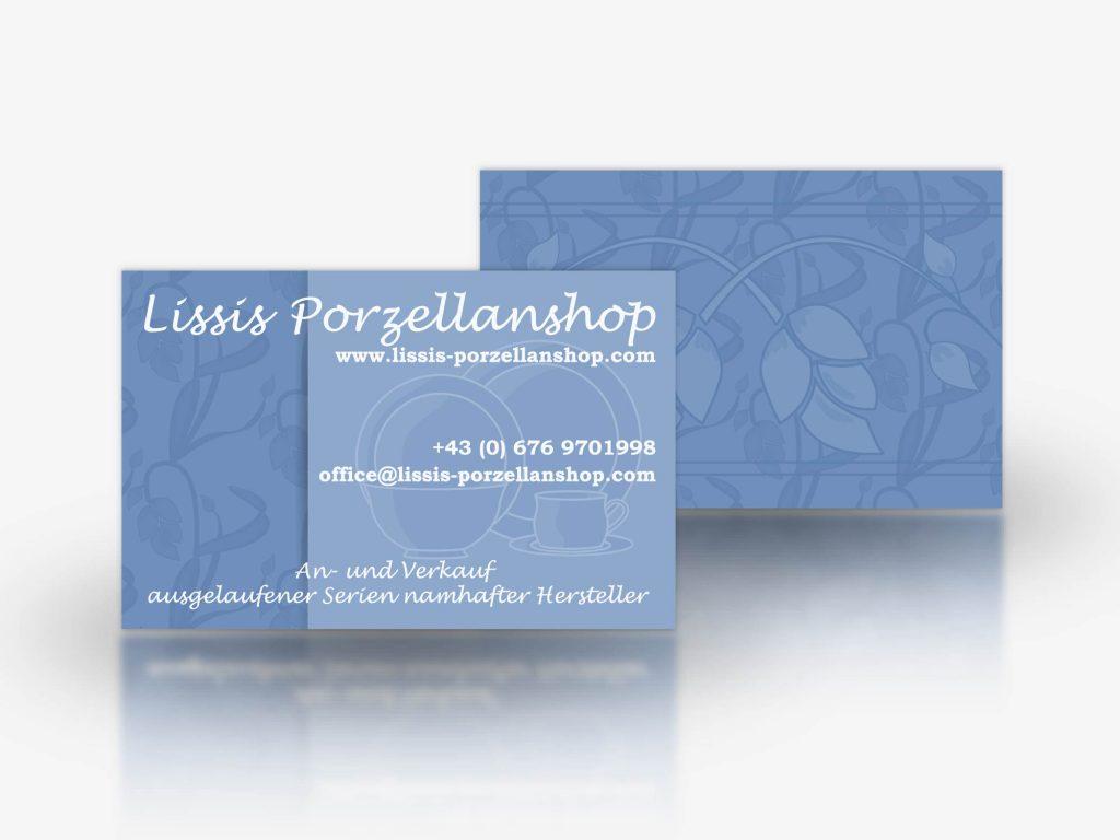 Visitenkarten Für Lissis-Porzellanshop, ein Onlineshop für Porzellan.