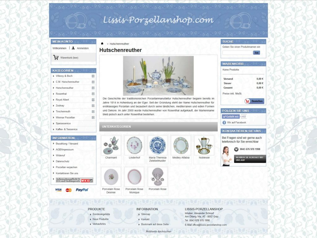 Startseite des Onlineshops für Porzellan ausgelaufener Serien und Einzelteile