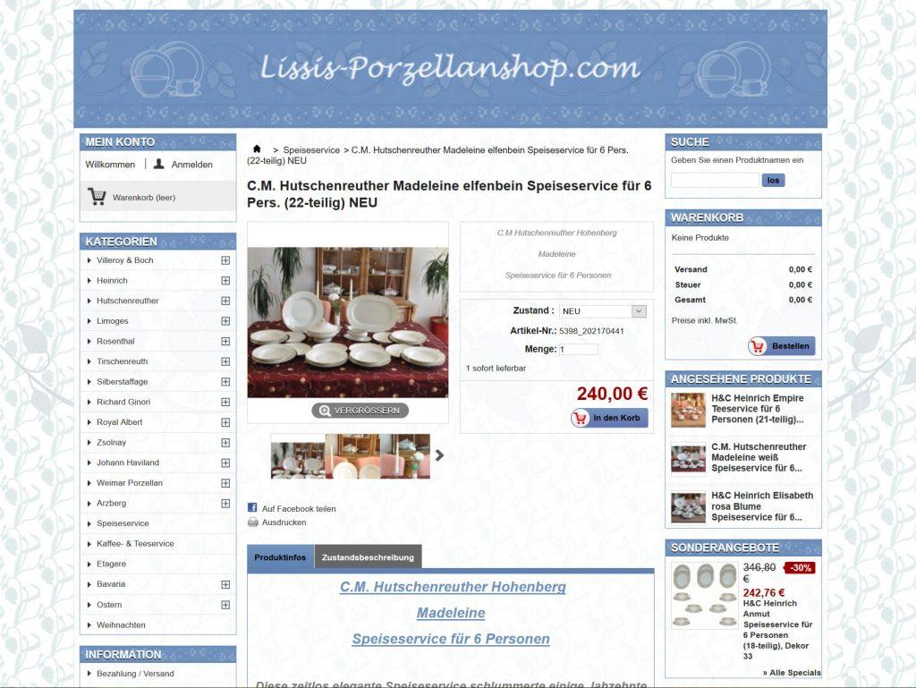 Produktansicht eines Porzellan-Service im Onlineshop