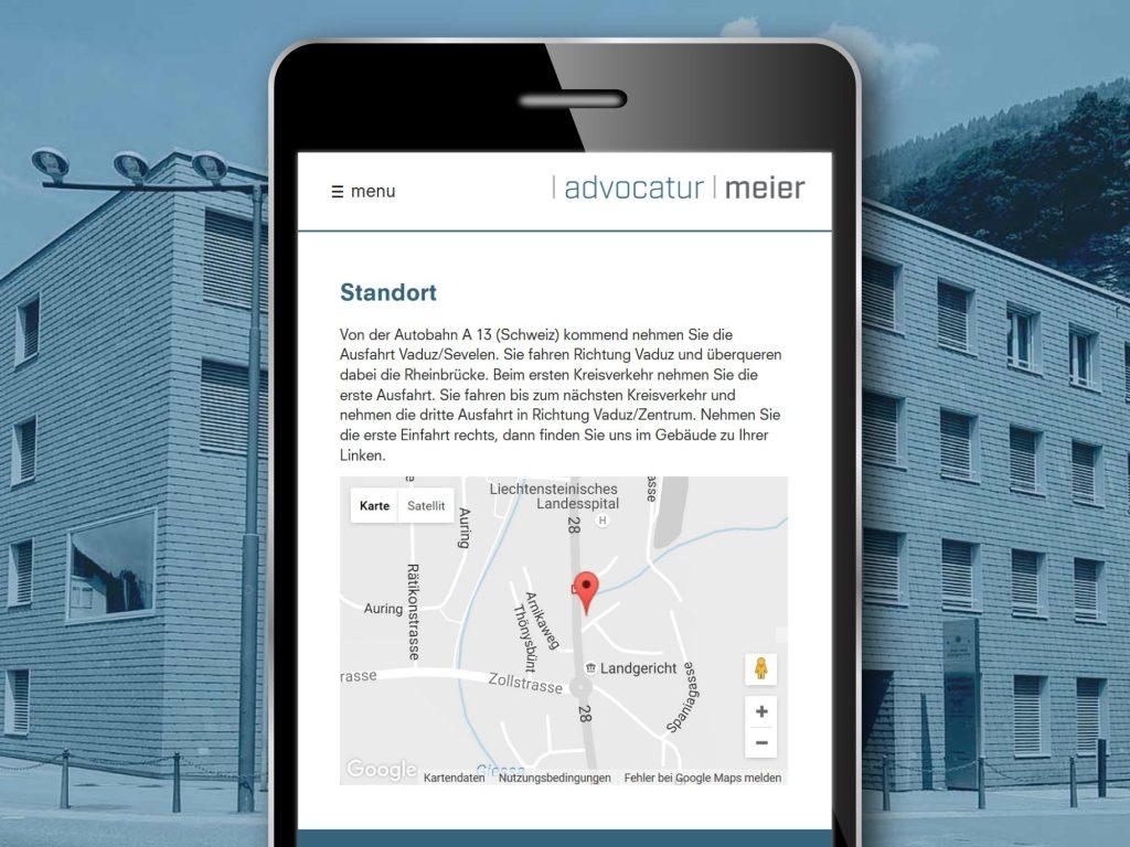 Mobilansicht der Webseite der Advocatur Dr. Paul Meier Vaduz