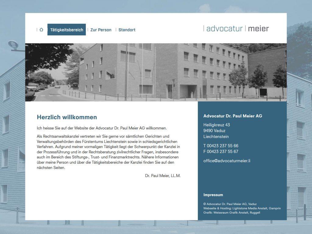 Ansicht der Startseite auf der Webseite der Advocatur Dr. Paul Meier, Vaduz