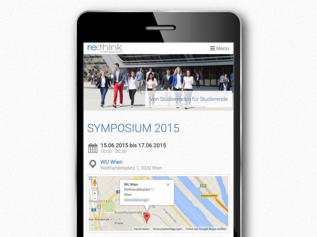 Smartphone Ansicht der responsiven Webseite für Rethink Management