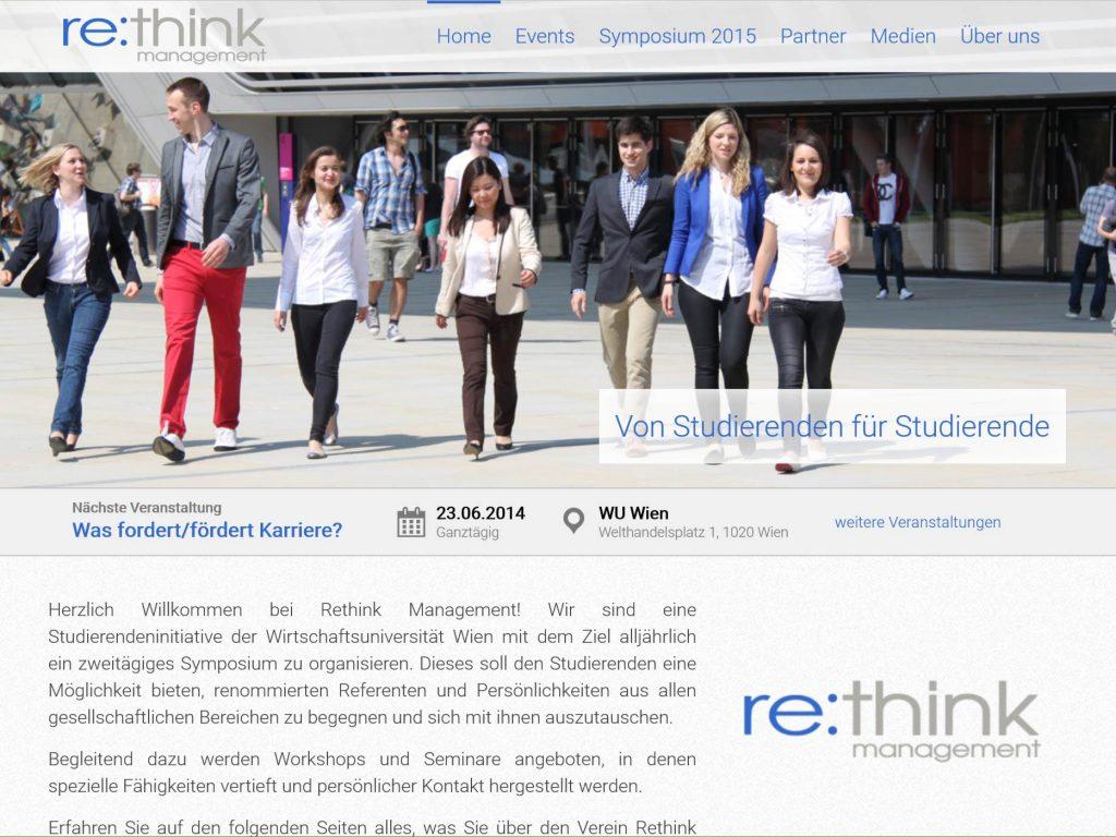 Individuelles Design der Homepage für Rethink Management