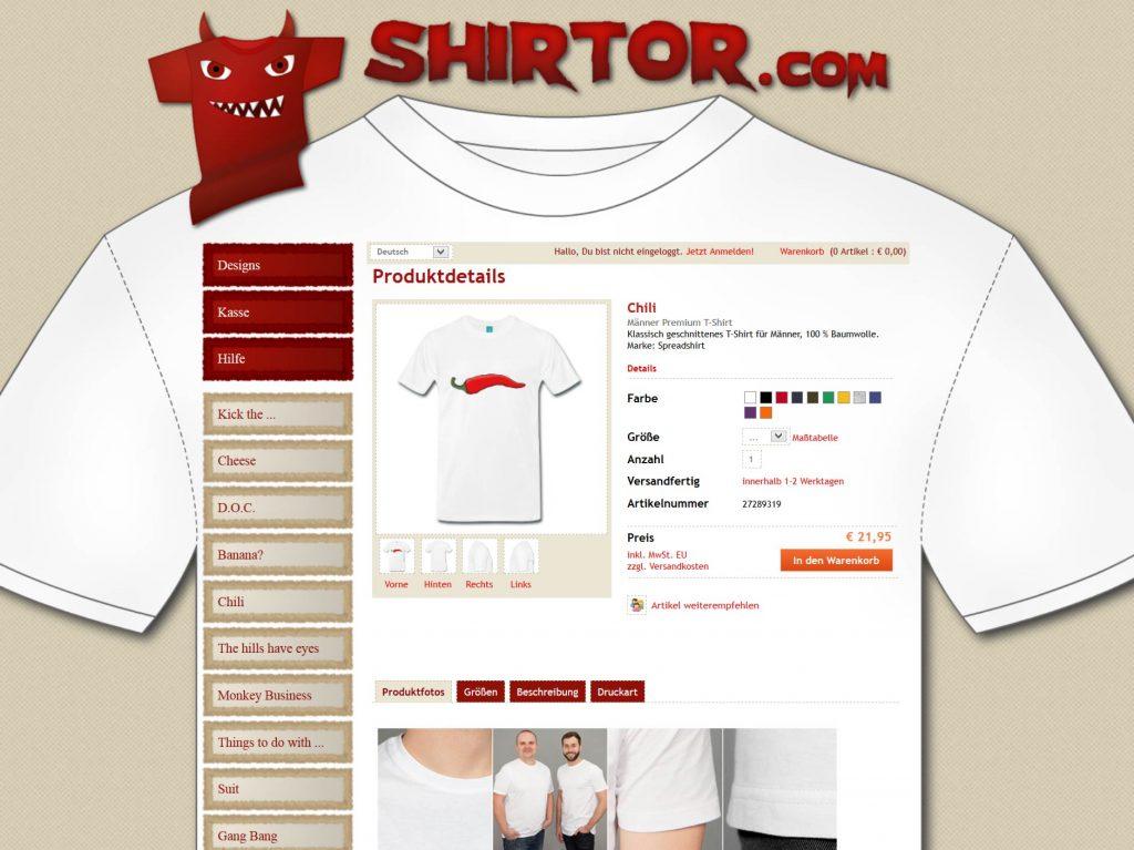 Produktansicht im shirtor.com T-Shirt onlineshop
