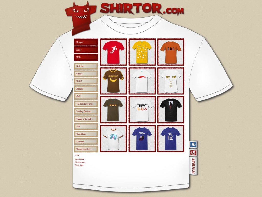 Webseite des shirtor.com T-shirt Webshop