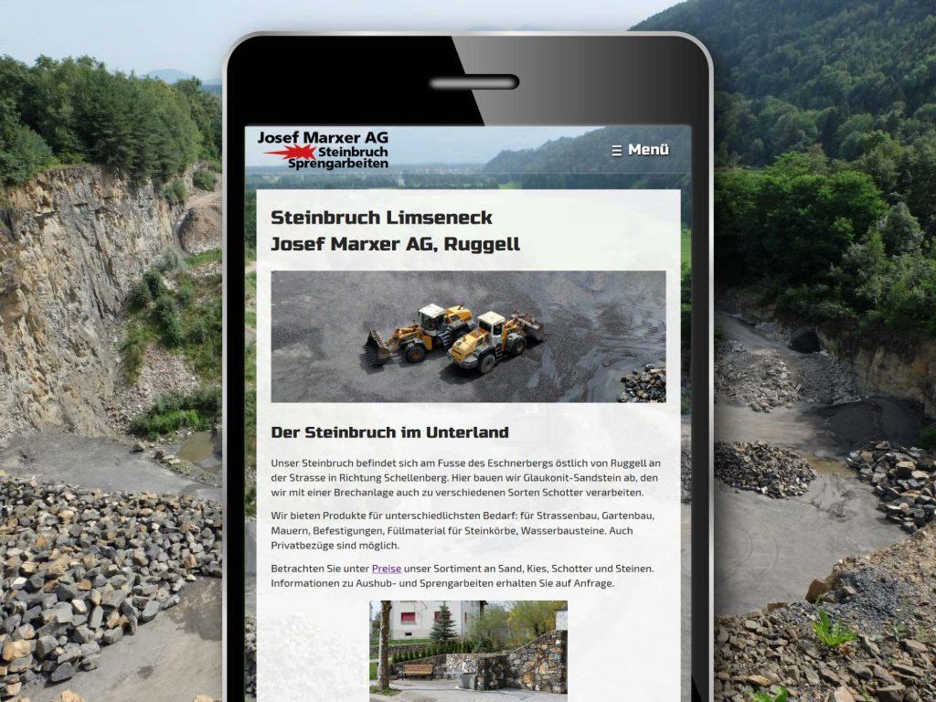Mobiloptimierte responsive Webseite für Steinbruch Josef Marxer AG in Ruggell
