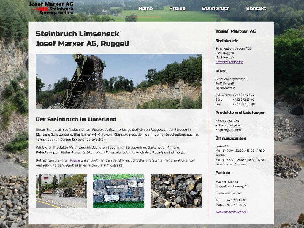Screenshot der Webseite des Steinbruchs Josef Marxer AG, Ruggell, Liechtenstein