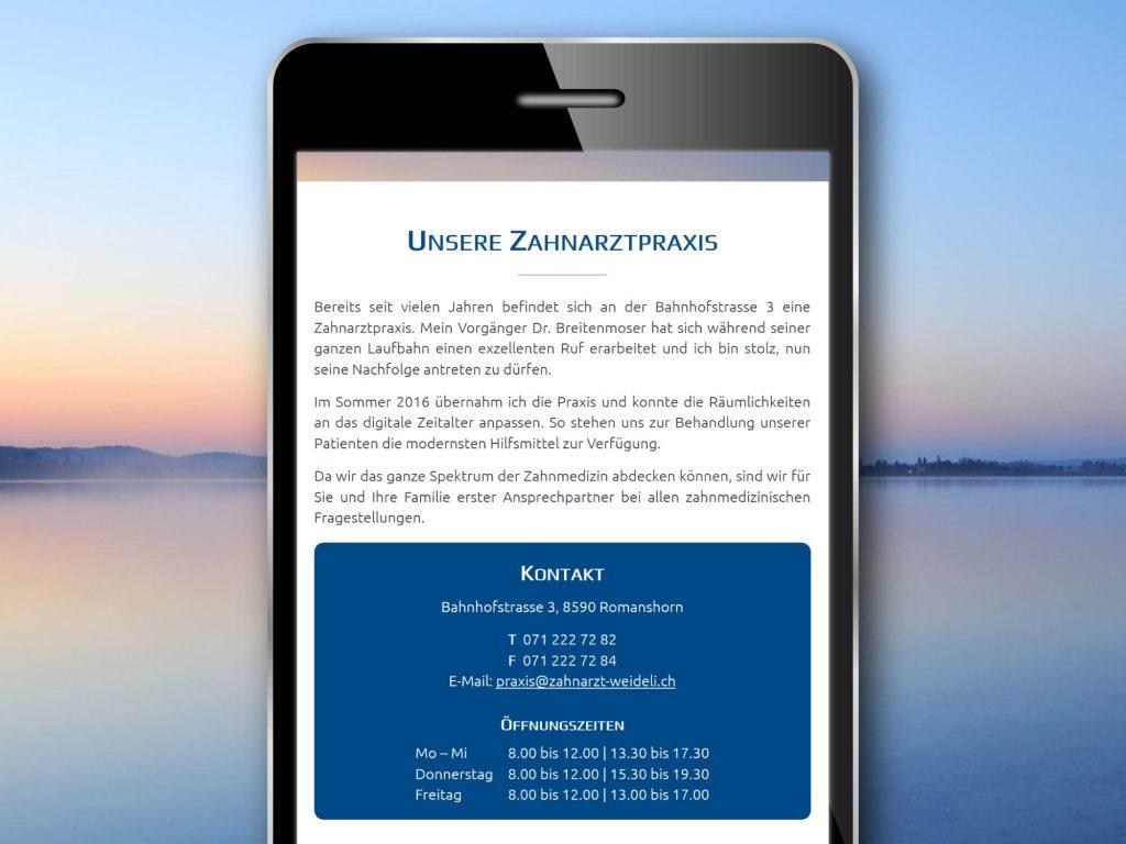 Mobilansicht der Webseite von Zahnarzt Dr. Nicolas Weideli, Romanshorn