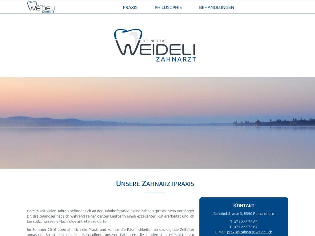 Modernes Webdesign für Zahnarzt Dr. Weideli, responsive Design, One-Page-Layout