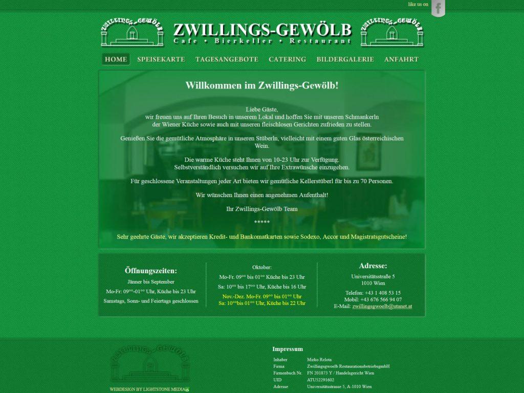 Homepage des Restaurant Zwillings-Gewölb in Wien