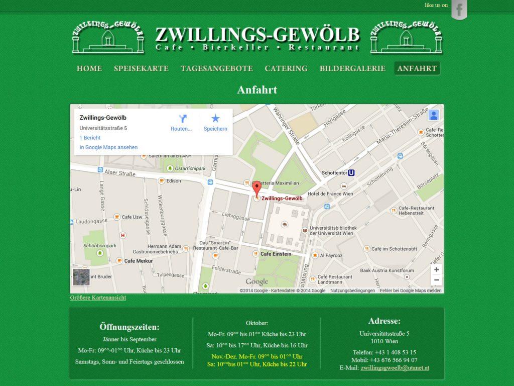 Ansicht der Webseite des Restaurant Zwillings-Gewölb in Wien