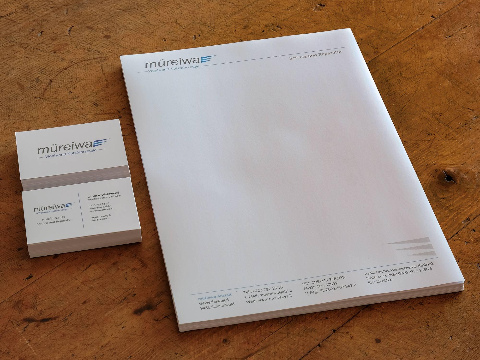 müreiwa Anstalt - Visitenkarten und Briefpapier