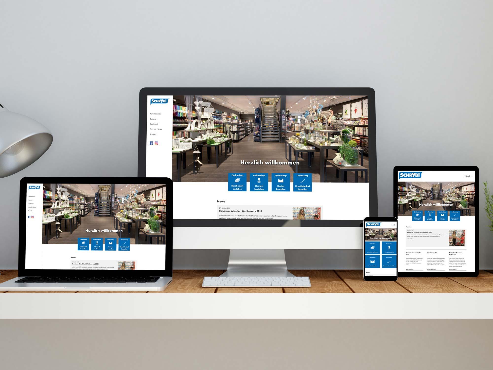 Darstellung des Responsive Designs und der Mobilversion der Webseite der Schrybi AG