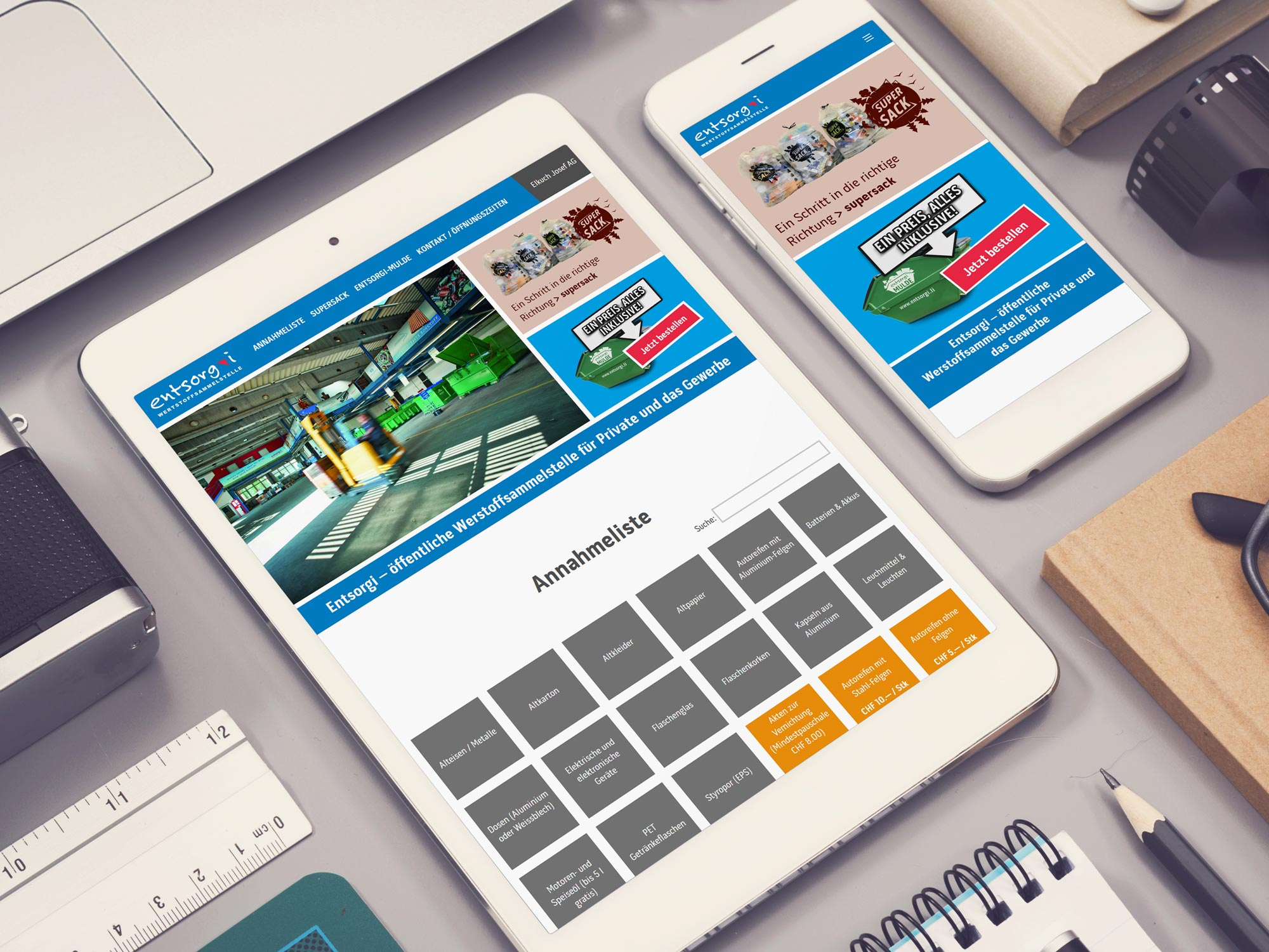 Webesign der Entsorgi Webseite