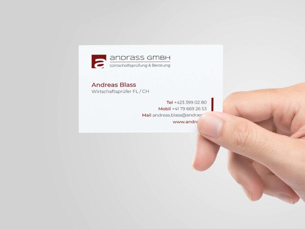 Darstellung des Visitenkartendesigns für ANDRASS