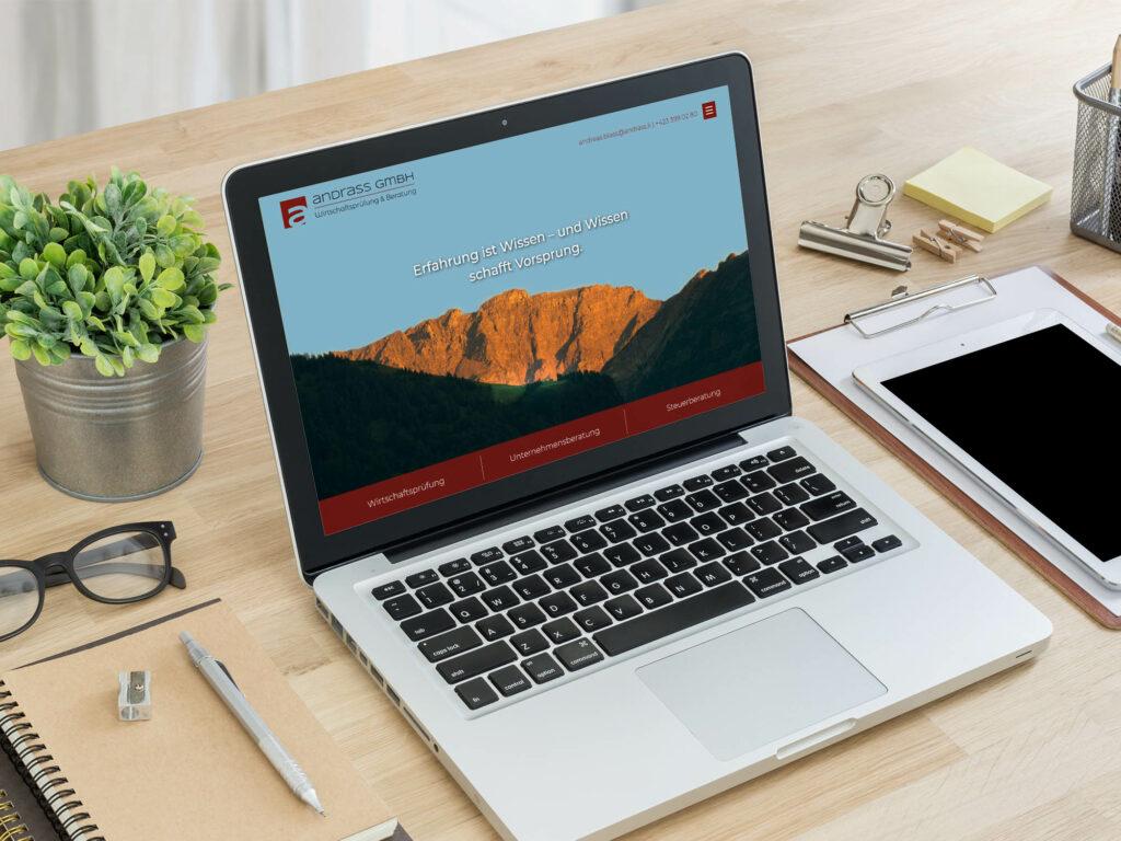 Darstellung des Webdesigns für ANDRASS
